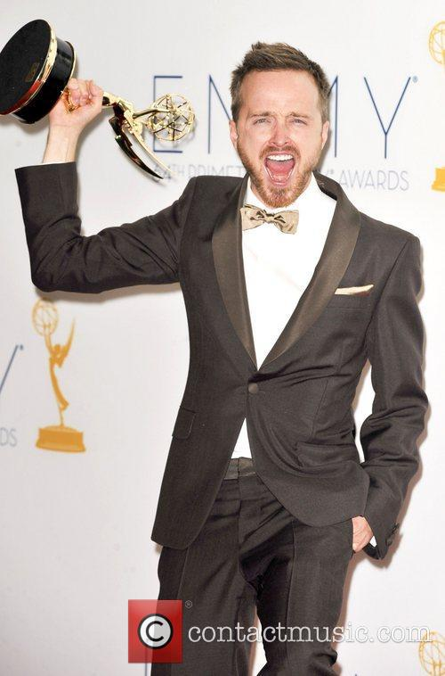 Aaron Paul with his Prime Time Emmy award for 'Breaking Bad'