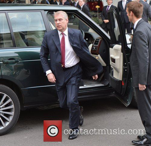 Prince Andrew, The Duke of York arriving at...