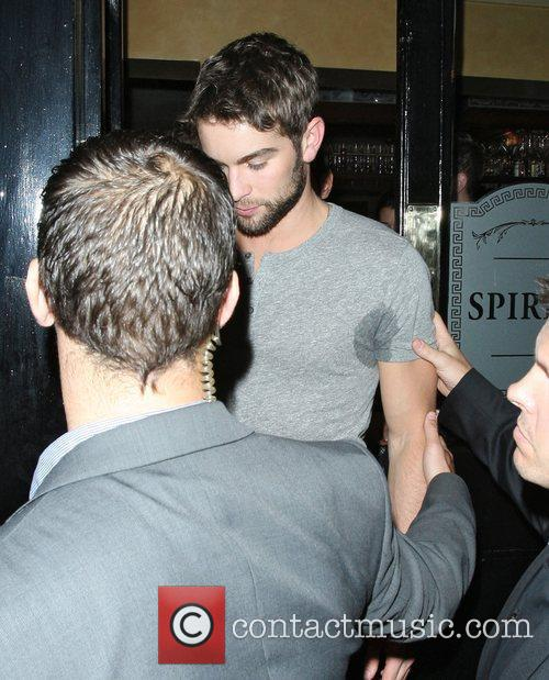 Chace Crawford with sweaty armpits leaving The Punch...