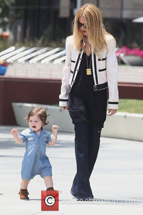 Out and about with her son Skylar in...