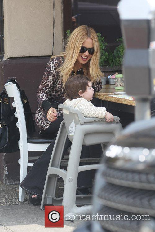 Rachel Zoe and son Skyler Berman eating at...