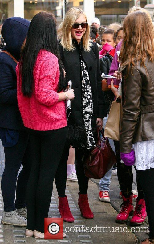 Fearne Cotton talks to fans outside the BBC...