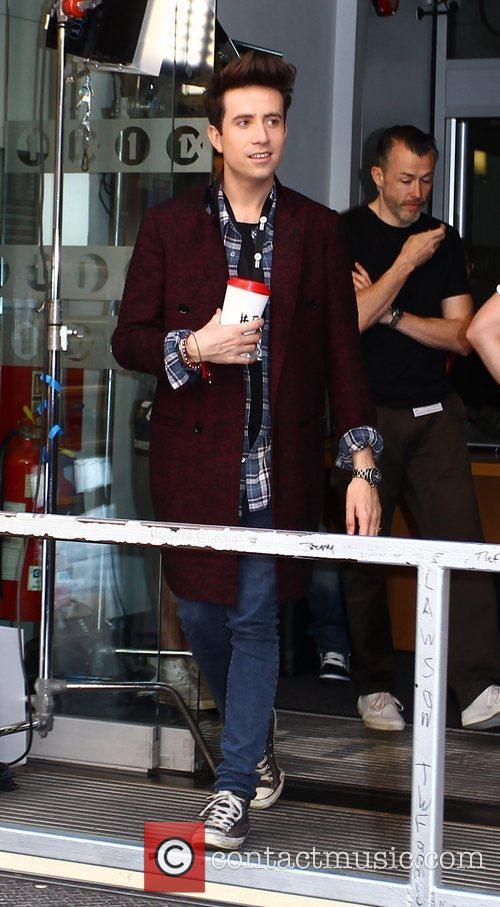 Nick Grimshaw filming a promo video outside the...