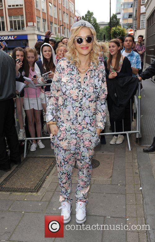 Rita Ora leaving the Radio 1 studios.