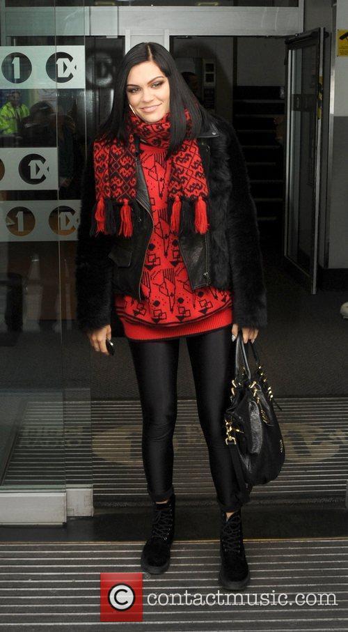 Jessie J leaves the BBC Radio 1 studios...