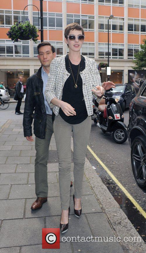 anne hathaway arriving at the bbc radio 3997427