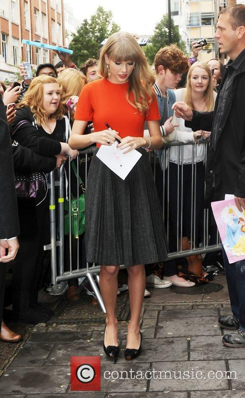 Taylor Swift outside the BBC Radio 1 studios...