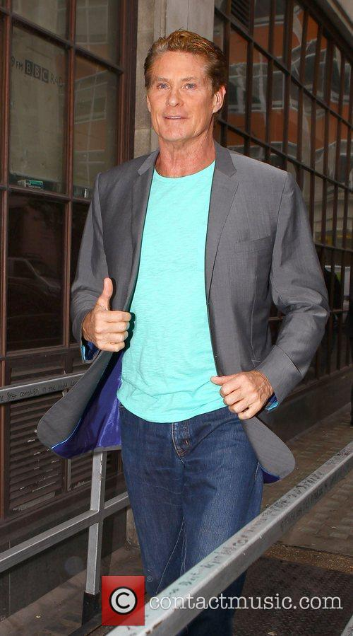 David Hasselhoff outside the BBC Radio 1 studios