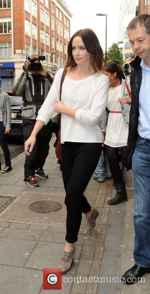 Emily Blunt leaving the BBC Radio 1 studios...