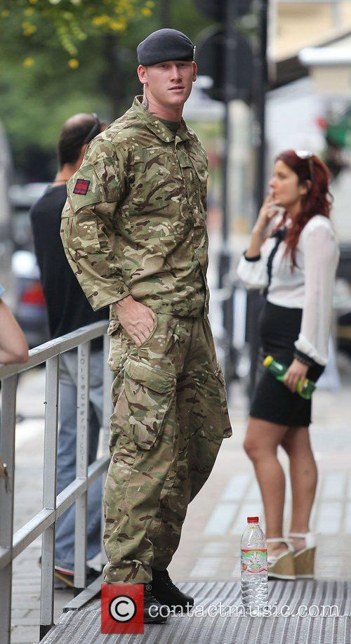A soldier at the BBC Radio 1 studios...
