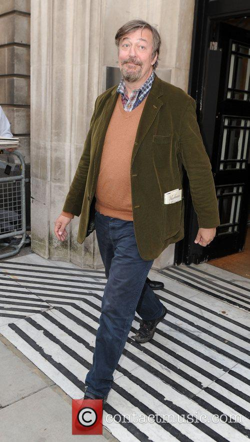 Stephen Fry outside the BBC Radio 2 studios...