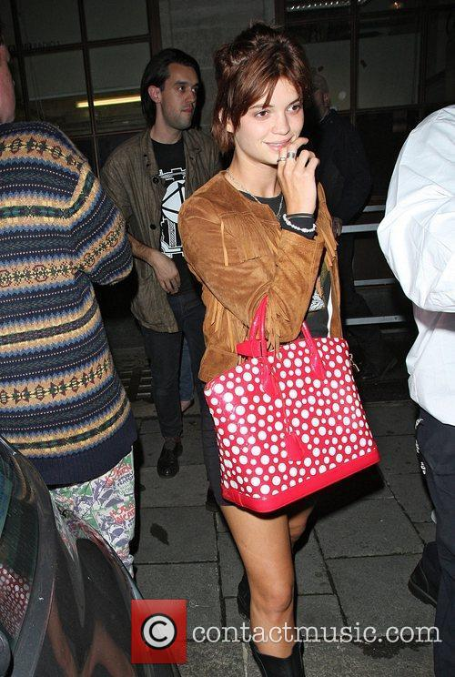 Pixie Geldof leaving Radio 1 studios after visiting...