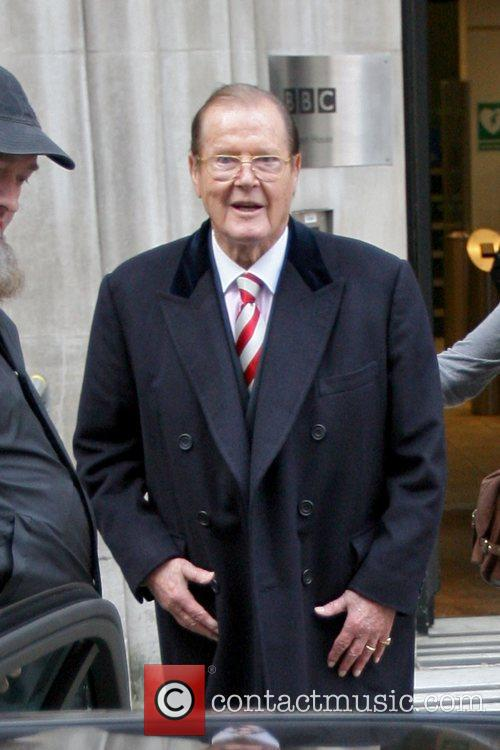 roger moore celebrities are seen leaving radio 5940761