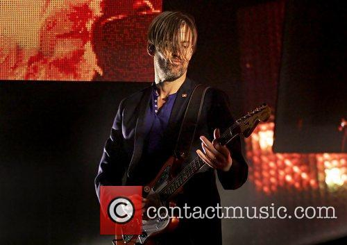 Ed O'Brien Radiohead performing live at Manchester Arena...