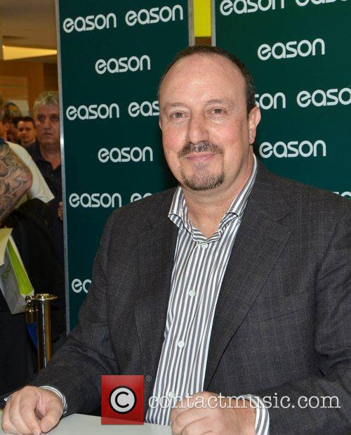 Rafa Benitez  signs copies of his book...