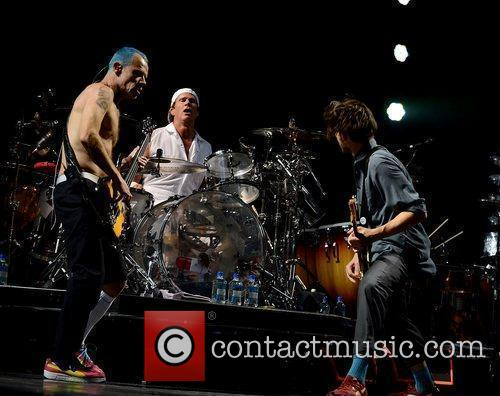 Red Hot Chili Peppers performing live at the...