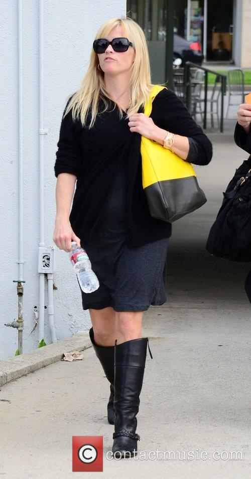 Reese Witherspoon leaving her office building in Brentwood....