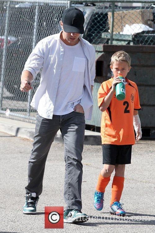 Ryan Phillippe and Deacon Phillippe arrive together at...