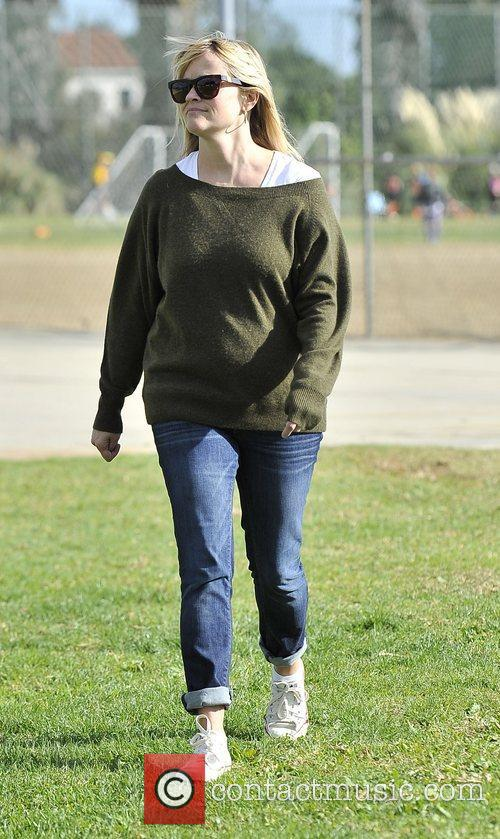 Reese Witherspoon Reese Witherspoon watches her son's soccer...