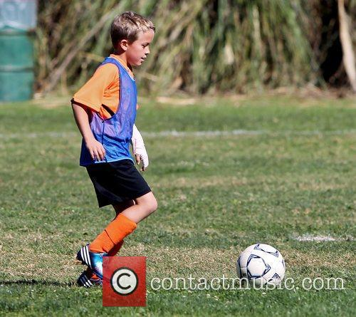 Deacon Phillippe warms up before his soccer game...