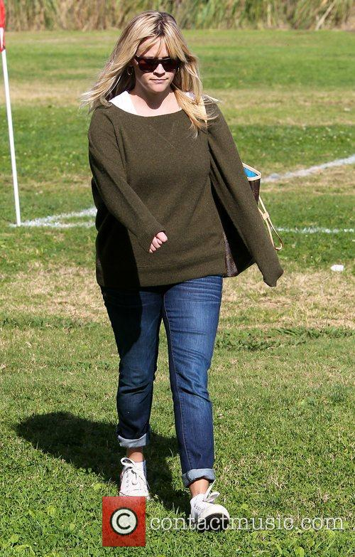 Reese Witherspoon leaves after watching her son's soccer...
