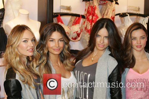 L-R) Victoria's Secret Angels Candice Swanepoel, Lily Aldridge,...