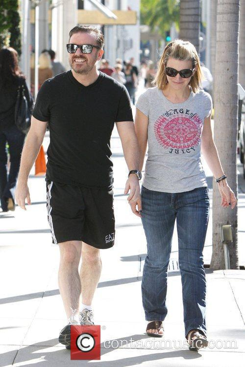 Ricky Gervais and partner Jane Fallon are seen...