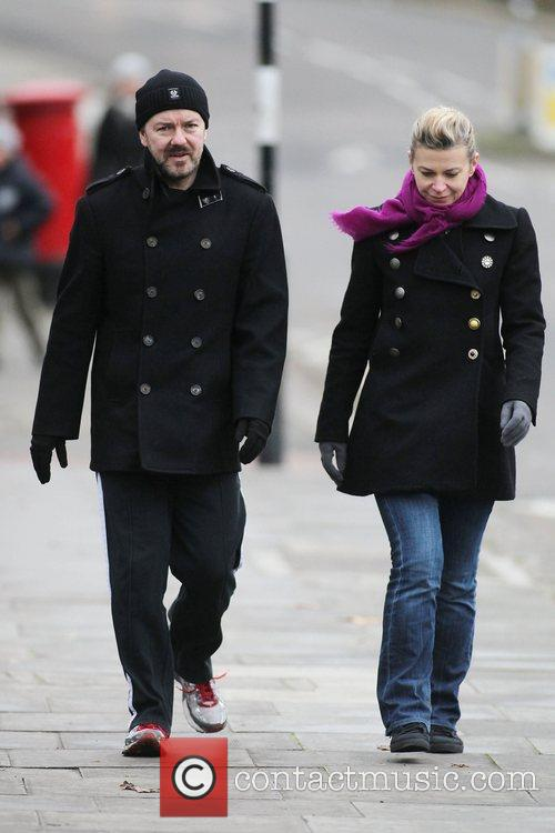 Ricky Gervais and Jane Fallon wrap up warm...