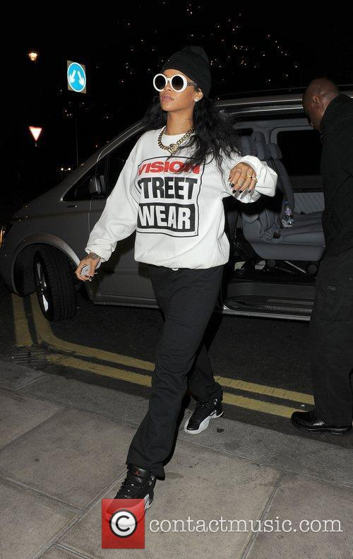 Rihanna arrives back at her hotel late at...