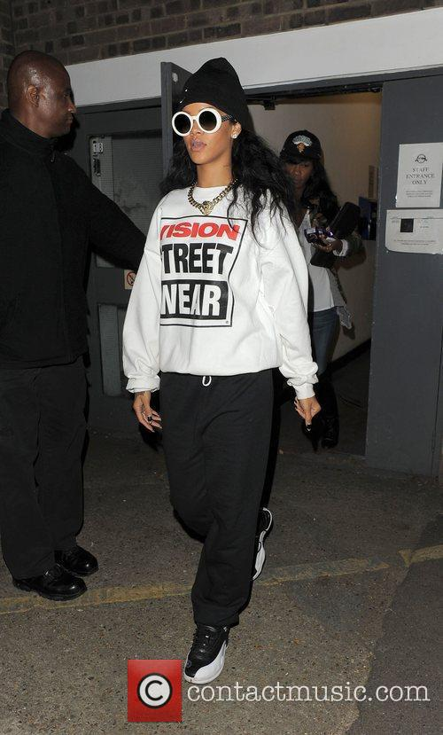 Rihanna leaves a dance studio, having spent the...