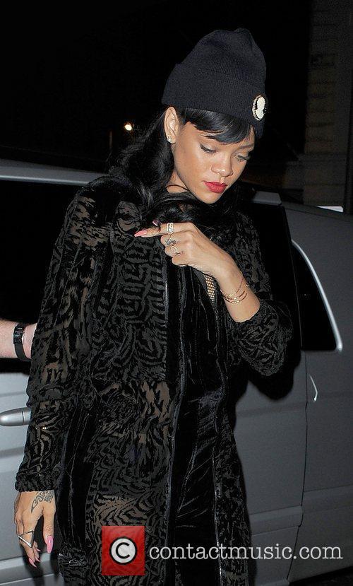 Rihanna arriving at Boujis nightclub in Kensington, wearing...