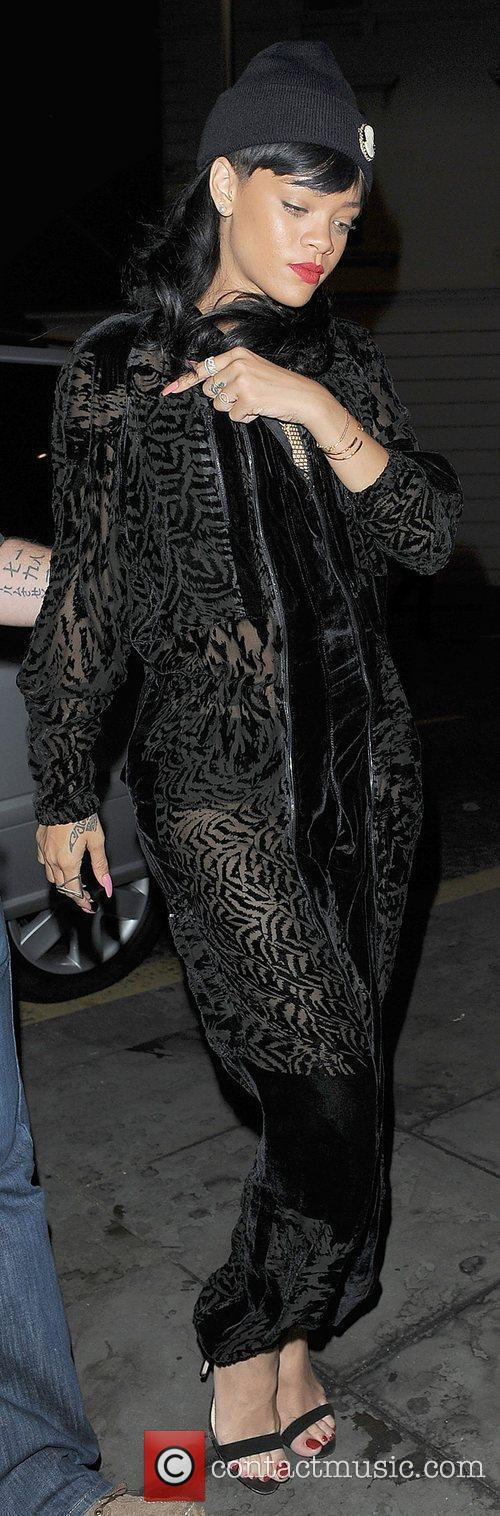 Rihanna arriving at Boujis nightclub in Kensington, wearing...