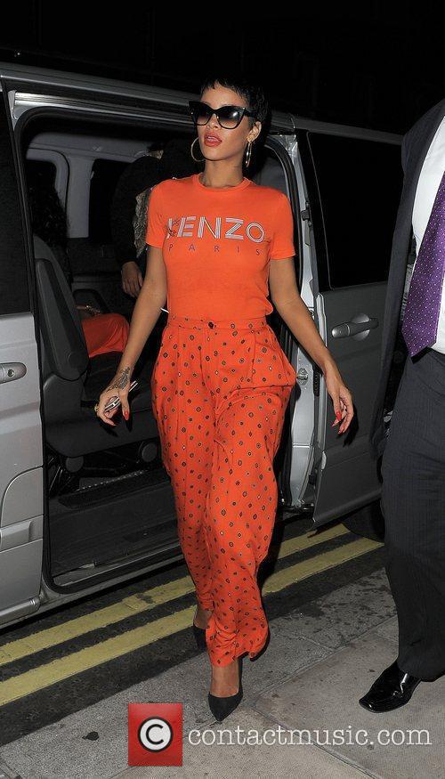 Rihanna arriving back at her hotel. London, England