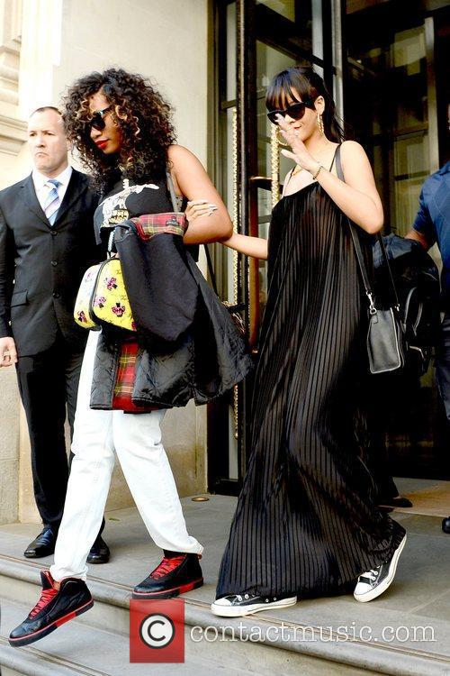 Rihanna is seen departing from her hotel and...