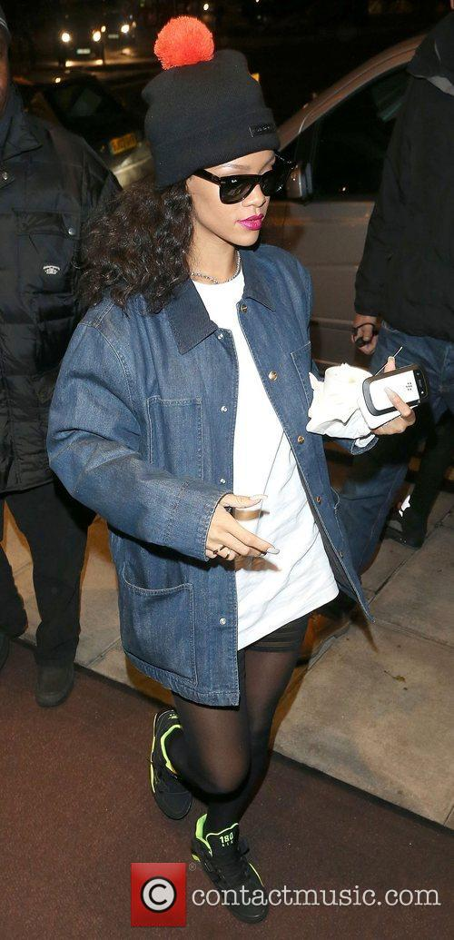 Rihanna arriving back at her hotel wearing a...