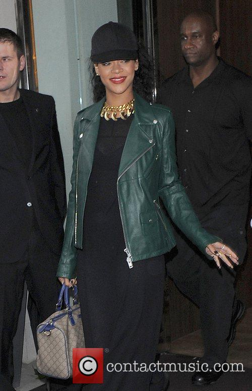 Rihanna leaving her hotel and heading to a...