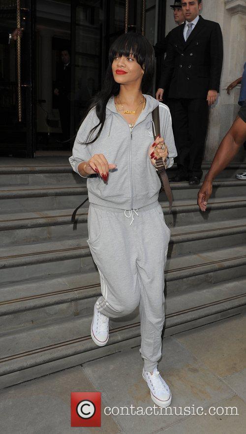 Rihanna leaving her hotel.