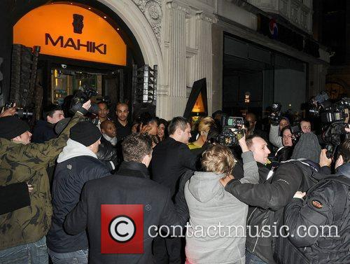 Rihanna leaving Mahiki nightclub shortly before 4am, with...