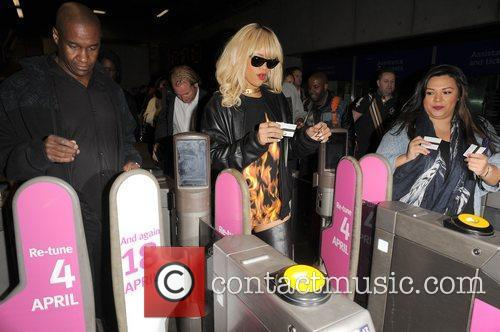 Rihanna catches a tube from Waterloo station, to...