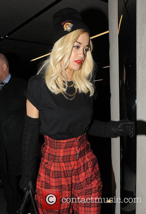 Rita Ora arriving at a private residence.