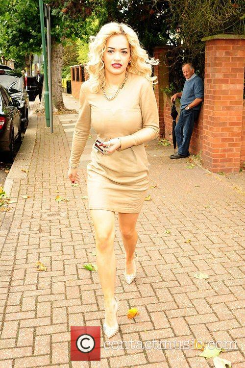 Rita Ora arrives on a film set in...