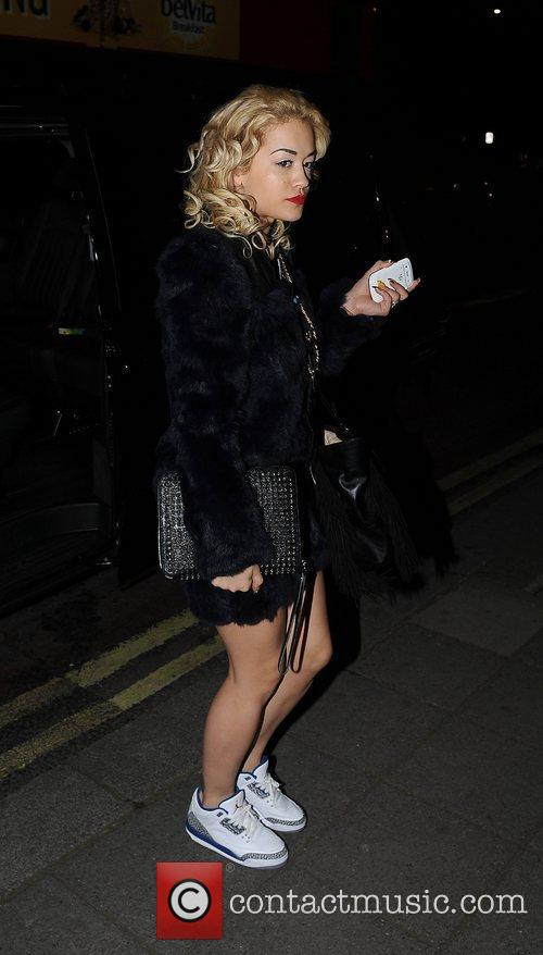Rita Ora arrives back at her hotel