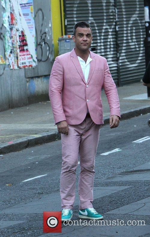 Robbie Williams on the set of his new...