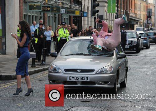 Robbie Williams stunt double on the set of...