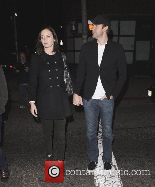 John Krasinski and Emily Blunt leaving The Roger...
