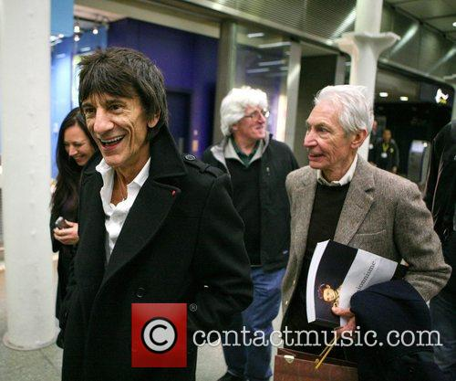 Ronnie Wood, Charlie Watts The Rolling, Stones, Kings Cross Station, Mick Jagger London, England and Mandatory 3