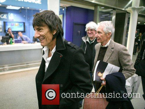 Ronnie Wood, Charlie Watts The Rolling, Stones, Kings Cross Station, Mick Jagger London, England and Mandatory 4