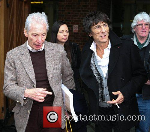Ronnie Wood, Charlie Watts The Rolling Stones arrive...