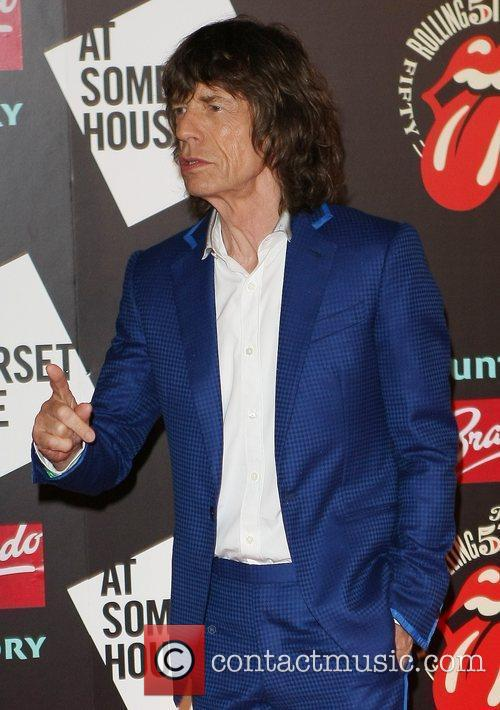 Mick Jagger of The Rolling Stones Photocall celebrating...