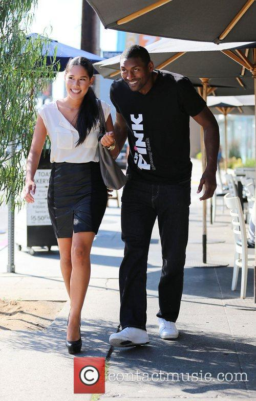 LA Laker, Ron Artest with his girlfriend Shin...
